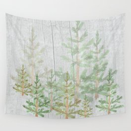 Pine forest on weathered wood Wall Tapestry