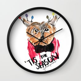 Holiday Dog, Tis the Season, Pinales Illustrated Wall Clock