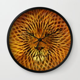 A design that incorporates zebra stripes and the face of a Lion Wall Clock