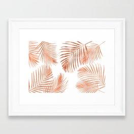 Rose Gold Palm Leaves Framed Art Print