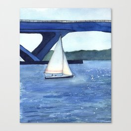 """Off to a journey"" Sailboat Watercolor Painting Canvas Print"