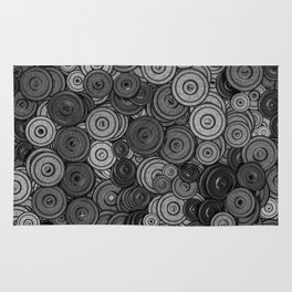 Heavy iron / 3D render of hundreds of heavy weight plates Rug