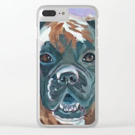 Boone the Boxer Dog Portrait Clear iPhone Case