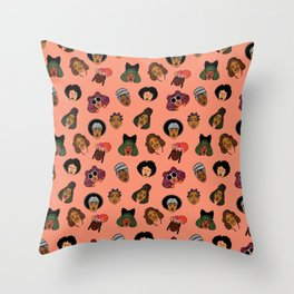 Black Hair Magic (Coral) Throw Pillow