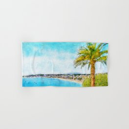 The Promenade, Nice, France, by Jennifer Berdy Hand & Bath Towel