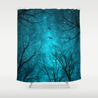 black Shower Curtains featuring Stars Can't Shine Without Darkness  by soaring anchor designs