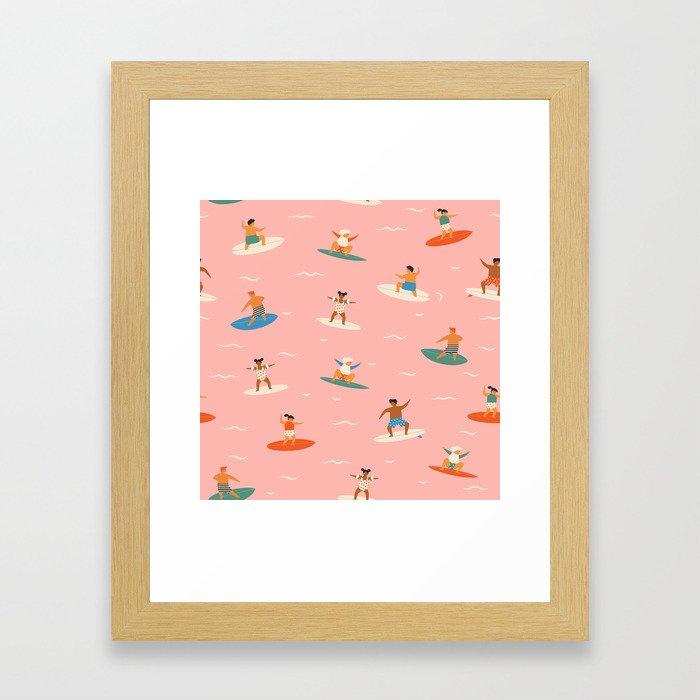 Surf kids Framed Art Print