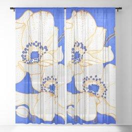 Ultramarine Blue :: Anemones Sheer Curtain