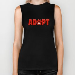 Shiny Red ADOPT Animal Paw Print with  White Heart Biker Tank