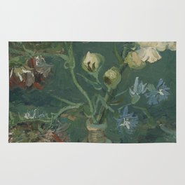 Small Bottle with Peonies and Blue Delphiniums Rug