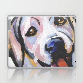 Yellow Lab Labrador Retriever Dog Portrait Pop Art painting by Lea Laptop & iPad Skin