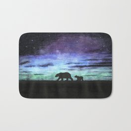 Aurora borealis and polar bears (black version) Bath Mat