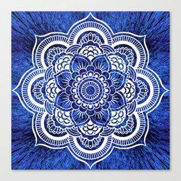 Mandala Blue Colorburst Canvas Print
