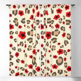 Romantic Leopard Print Pattern with Red Flowers Blackout Curtain