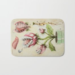 Piranha Plant Botanical Illustration Bath Mat
