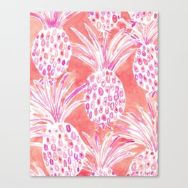 FLESHED OUT Tropical Pink Pineapples Canvas Print