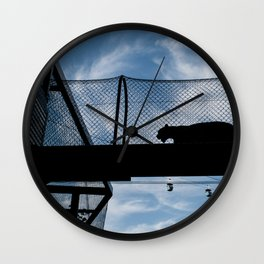 Silhouette of a Medium Sized Cat Wall Clock