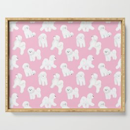 Bichon Frise Pattern (Pink Background) Serving Tray