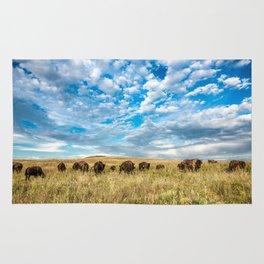 Grazing - Bison Graze Under Big Sky on Oklahoma Prairie Rug