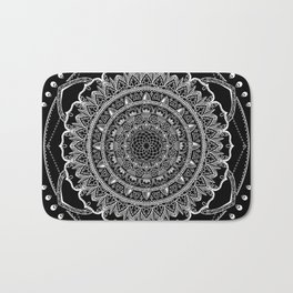 Black and White Geometric Mandala Bath Mat