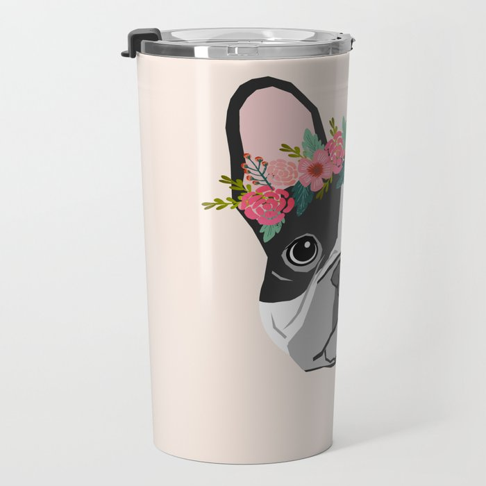 French Bulldog dog breed floral crown frenchies lover pure breed gifts Travel Mug