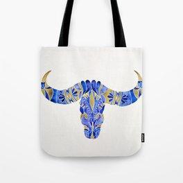 Water Buffalo Skull – Navy & Gold Tote Bag