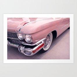 Vintage Peach Car   Blush Pink Art   Car Photography   Bedroom Art Art Print