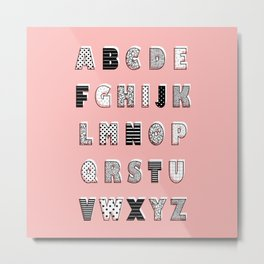 ABC Pink Metal Print