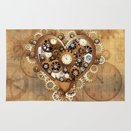 Steampunk Heart Love Rug