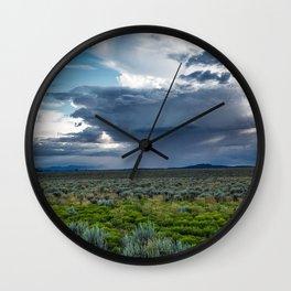 Desert Rain - Summer Thunderstorms Near Taos New Mexico Wall Clock