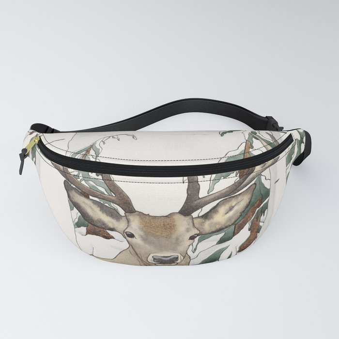 Deer in the Winter Forest Fanny Pack
