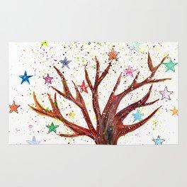 Star Tree Illustration Art Rug