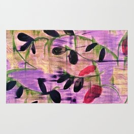 Purple Garden. Purple, Vines, Garden, Flowers, Green, Abstract, Jodilynpaintings Rug