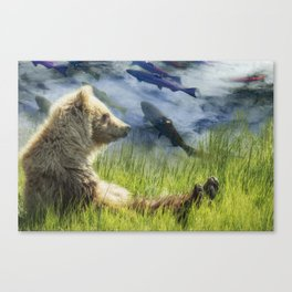 A Little Bear Dreams of Sweet Tomorrows Canvas Print