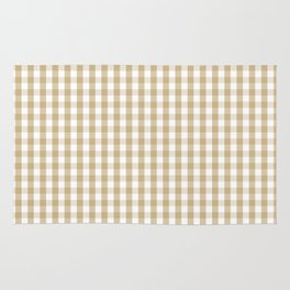 Christmas Gold Large Gingham Check Plaid Pattern Rug