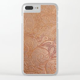 Floral copper Clear iPhone Case