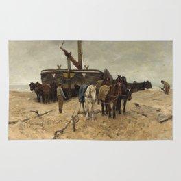 Anton Mauve - Fishing boat on the beach, 1882 Rug