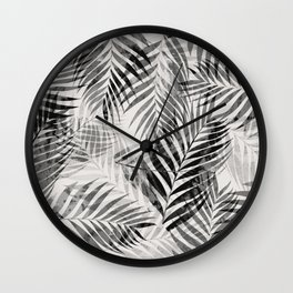Palm Leaves - Black & White Wall Clock