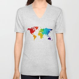 Original Watercolor - Map of The World - Travel Art - Chakra Rainbow Colors Unisex V-Neck