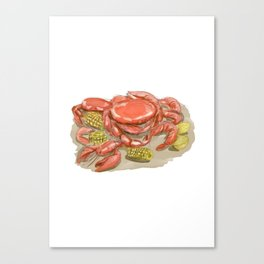 Cajun Seafood Watercolor Canvas Print