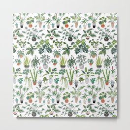 plants and pots pattern Metal Print