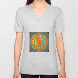 Moon and Sun Mandala Design Unisex V-Neck