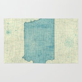 Iowa State Map Blue Vintage Rug