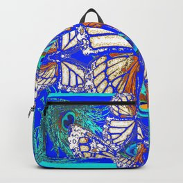 TURQUOISE & CREAM COLORED BUTTERFLIES  BLUE PEACOCK ART Backpack