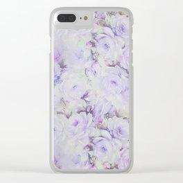 Vintage lavender gray botanical roses floral Clear iPhone Case