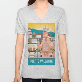 Puerto Vallarta, Mexico - Skyline Illustration by Loose Petals Unisex V-Neck