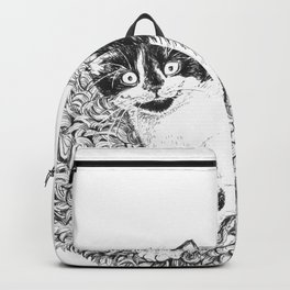 Tuxedo kitten ink drawing Backpack