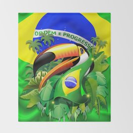 Toco Toucan with Brazil Flag Throw Blanket
