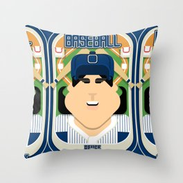 Baseball Blue Pinstripes - Deuce Crackerjack - Amy version Throw Pillow