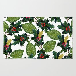 Christmas faux gold red green holly leaves floral Rug